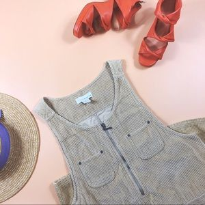 Vtg 90s Corduroy Zipper Dress M